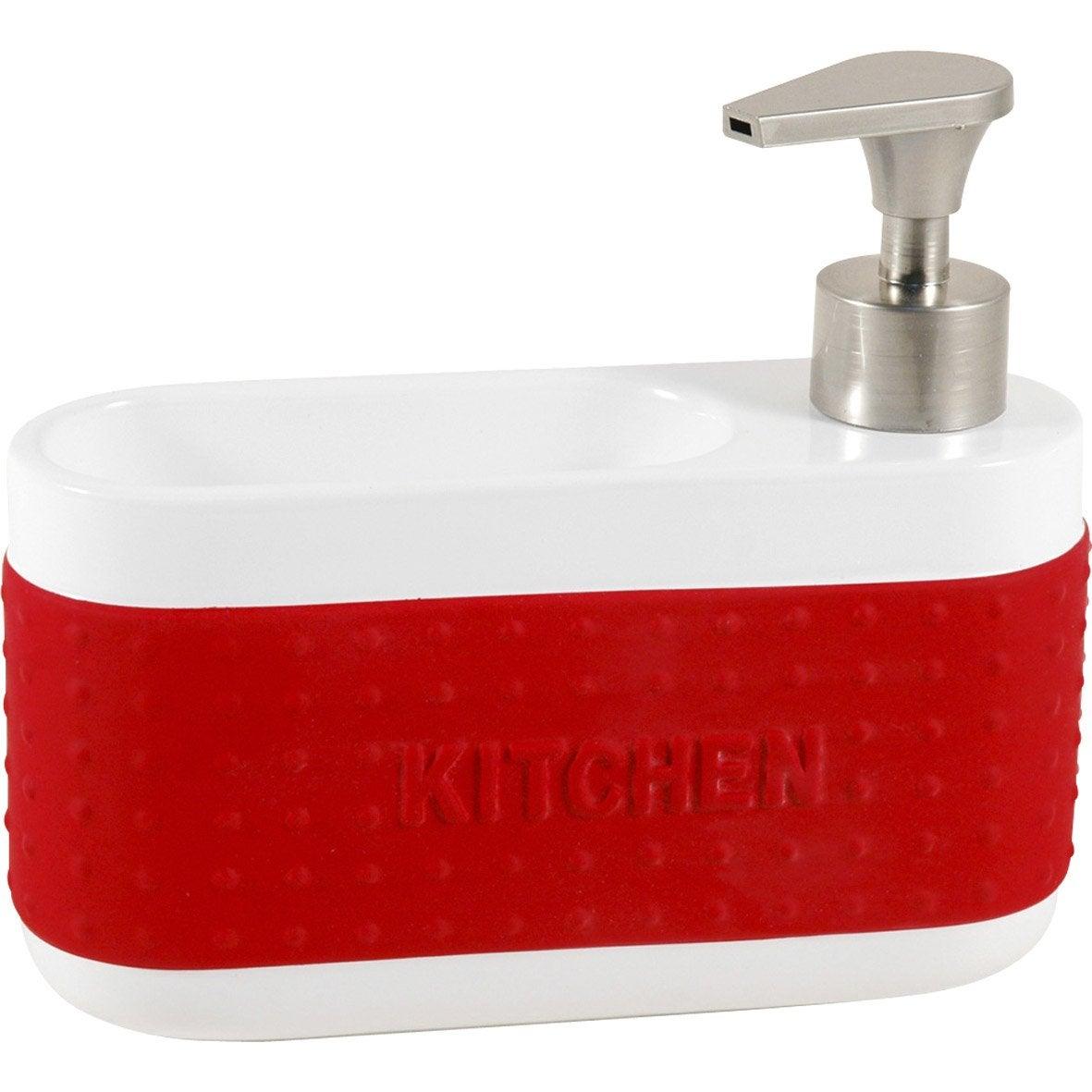 Distributeur de savon céramique avec porte-éponge rouge-rouge n°3