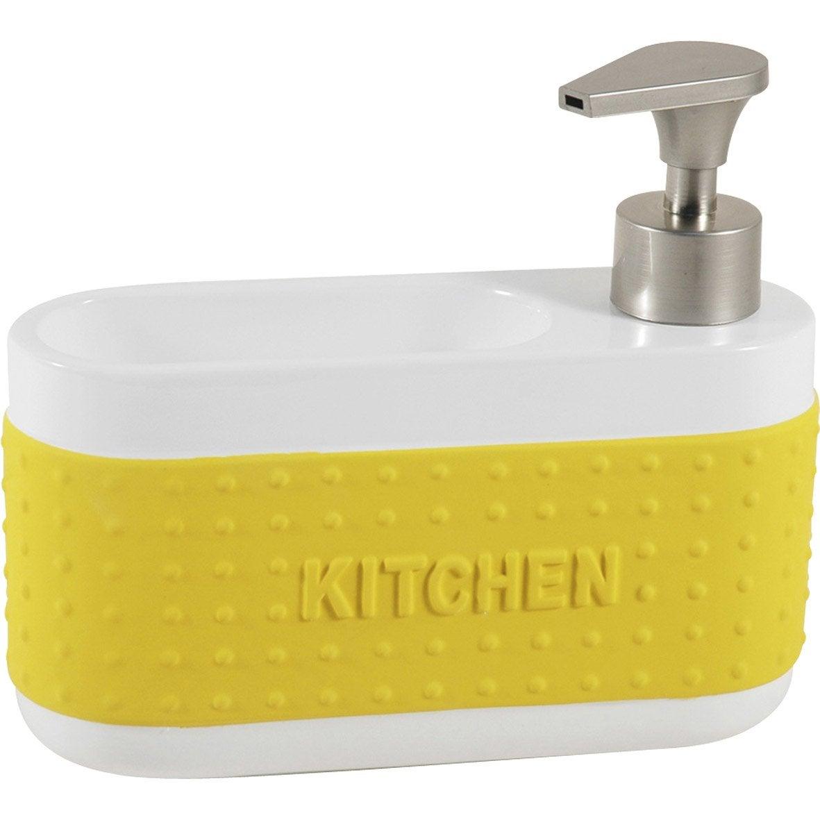 Soap dispenser with ceramic yellow sponge holder anise # 4