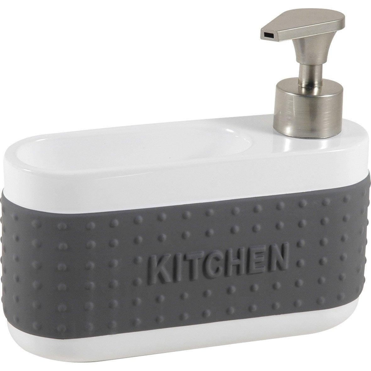 Distributeur de savon céramique avec porte-éponge gris-gris n°1