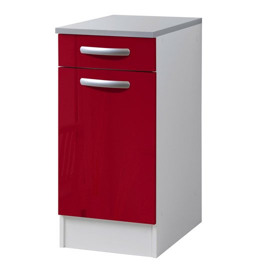 meuble de cuisine bas 1 porte 1 tiroir rouge brillant h86x l40x p60cm leroy merlin. Black Bedroom Furniture Sets. Home Design Ideas