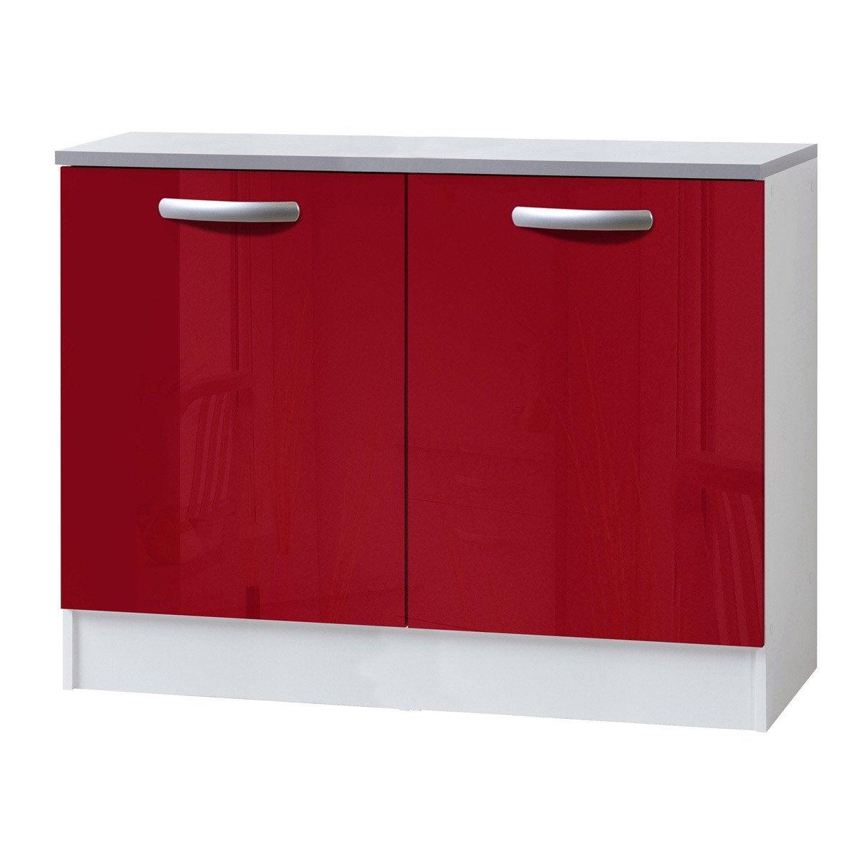 Meuble de cuisine bas 2 portes rouge brillant h86x l120x - Element de cuisine leroy merlin ...
