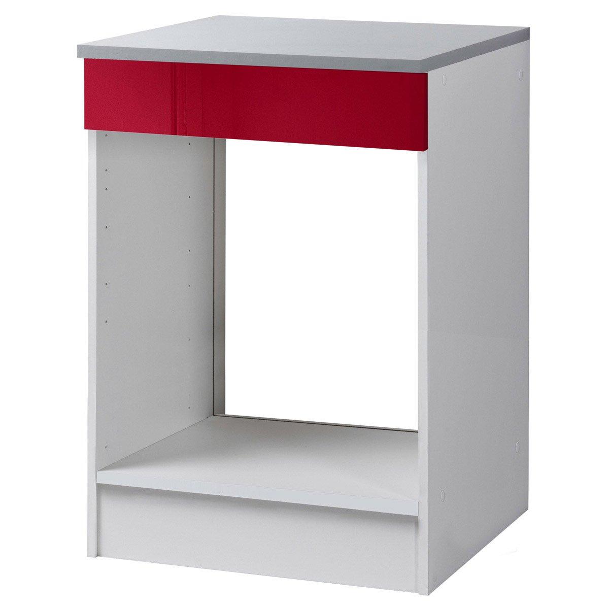 meuble de cuisine bas four rouge brillant h86x l60x. Black Bedroom Furniture Sets. Home Design Ideas