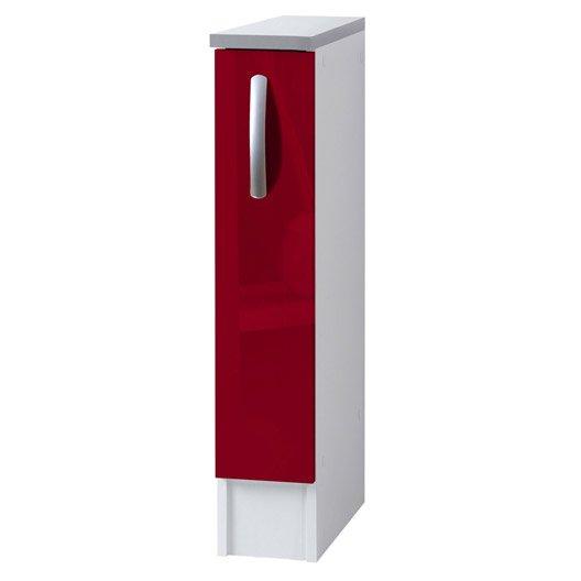 Meuble De Cuisine Bas 1 Porte Rouge Brillant H86x L15x