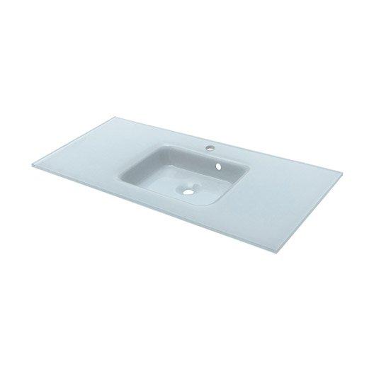 Plan vasque simple ice verre 106 cm leroy merlin - Verdubbelen vasque en verre ...