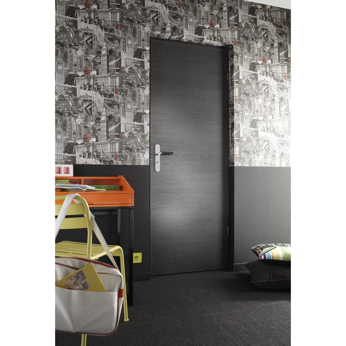 porte fin de chantier londres rev tu d cor ch ne gris 204x93 cm poussant droit leroy merlin. Black Bedroom Furniture Sets. Home Design Ideas