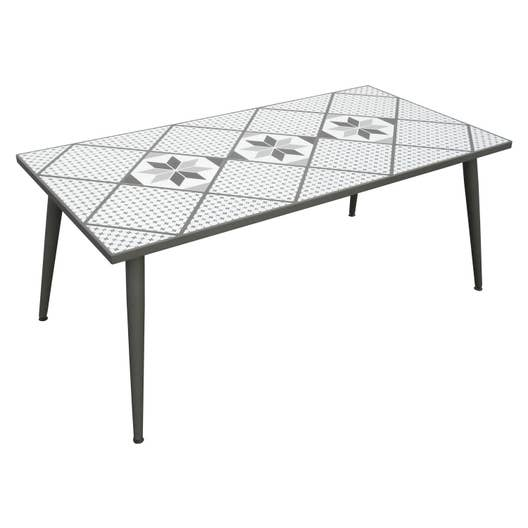 table de jardin de repas mosaika rectangulaire gris 6. Black Bedroom Furniture Sets. Home Design Ideas