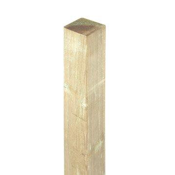 Poteau bois carré naturel, H.240 x l.7 x P.7 cm