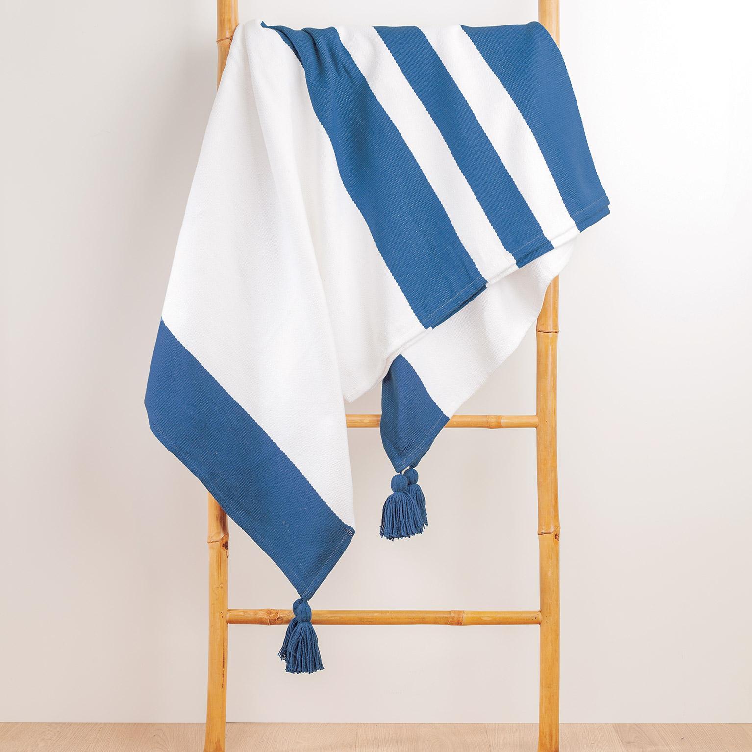 Plaid Slavia pompons, bleu foncé l.130 x L.170 cm