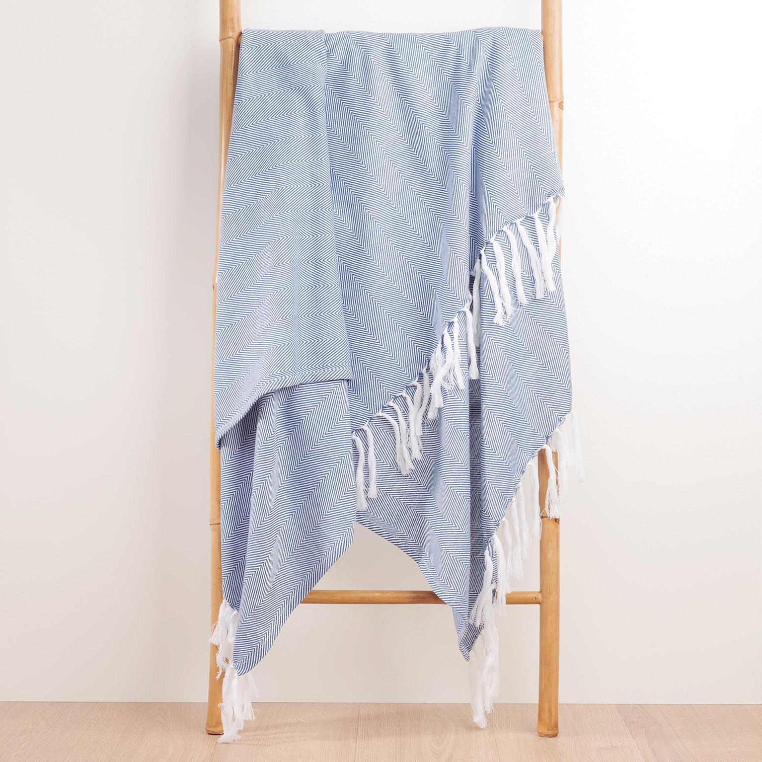 Plaid Ziggy fringes, bleu foncé l.130 x L.170 cm