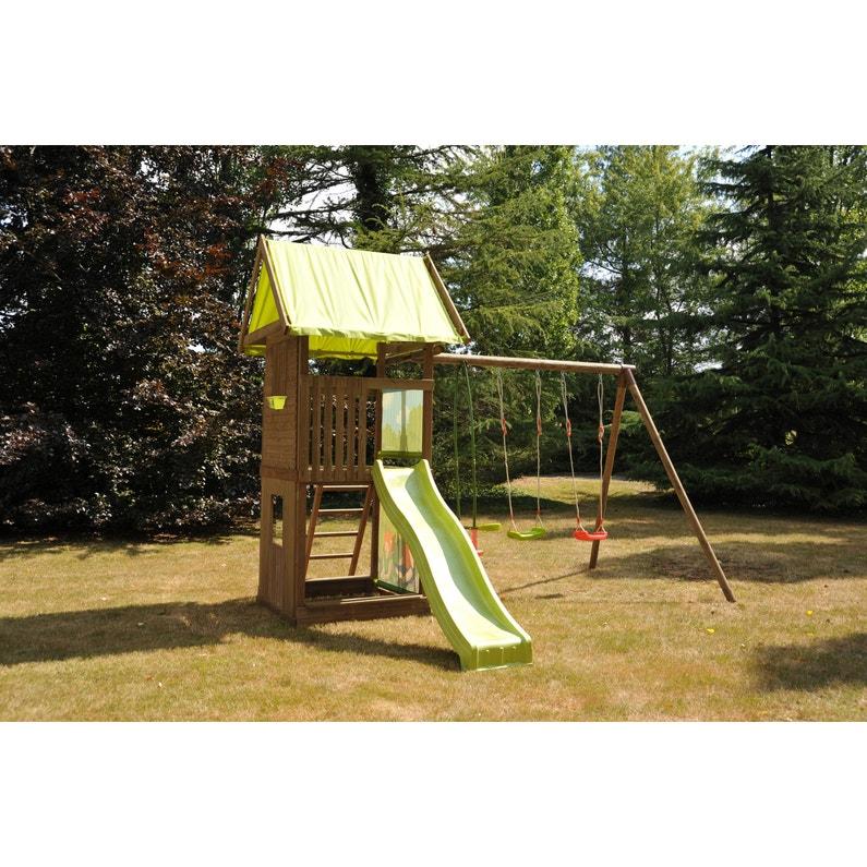 Aire De Jeux Bois Montebello 772380 Avec Toboggan Soulet H 329 Cm