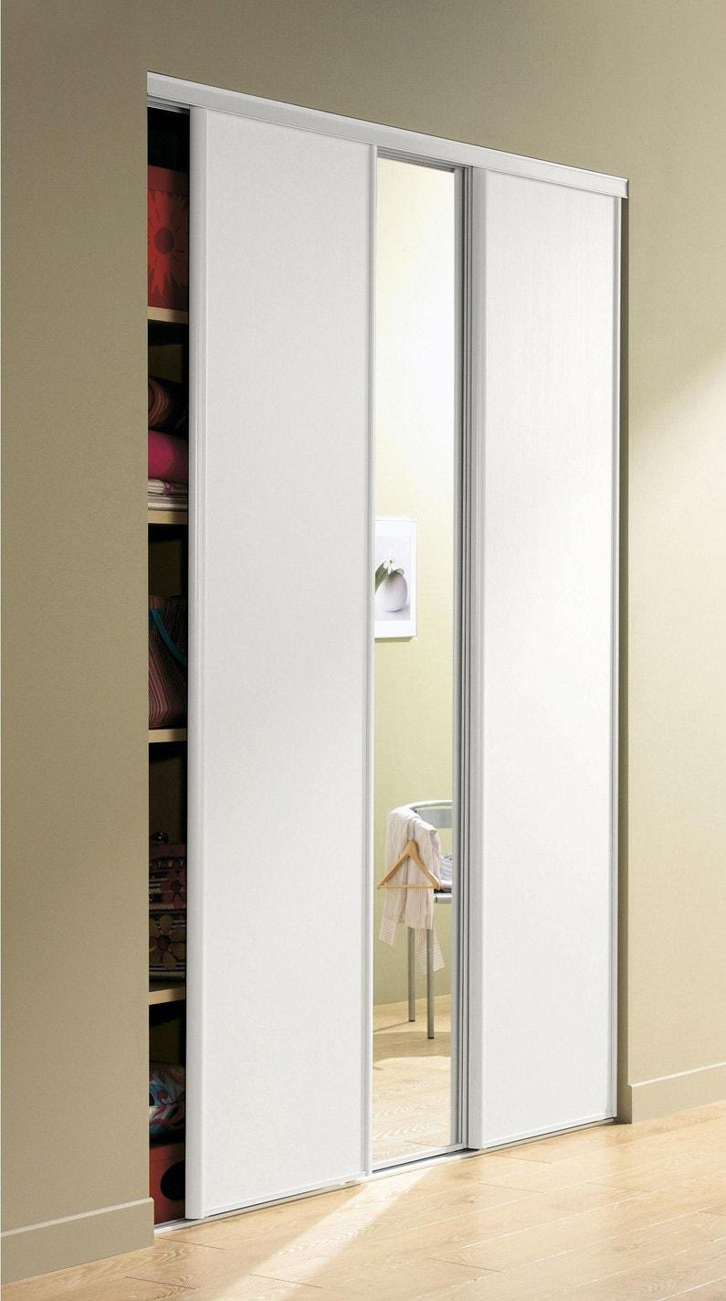 Porte De Placard Coulissante Effet Frêne Blanc Spaceo L 67 X H 250 Cm