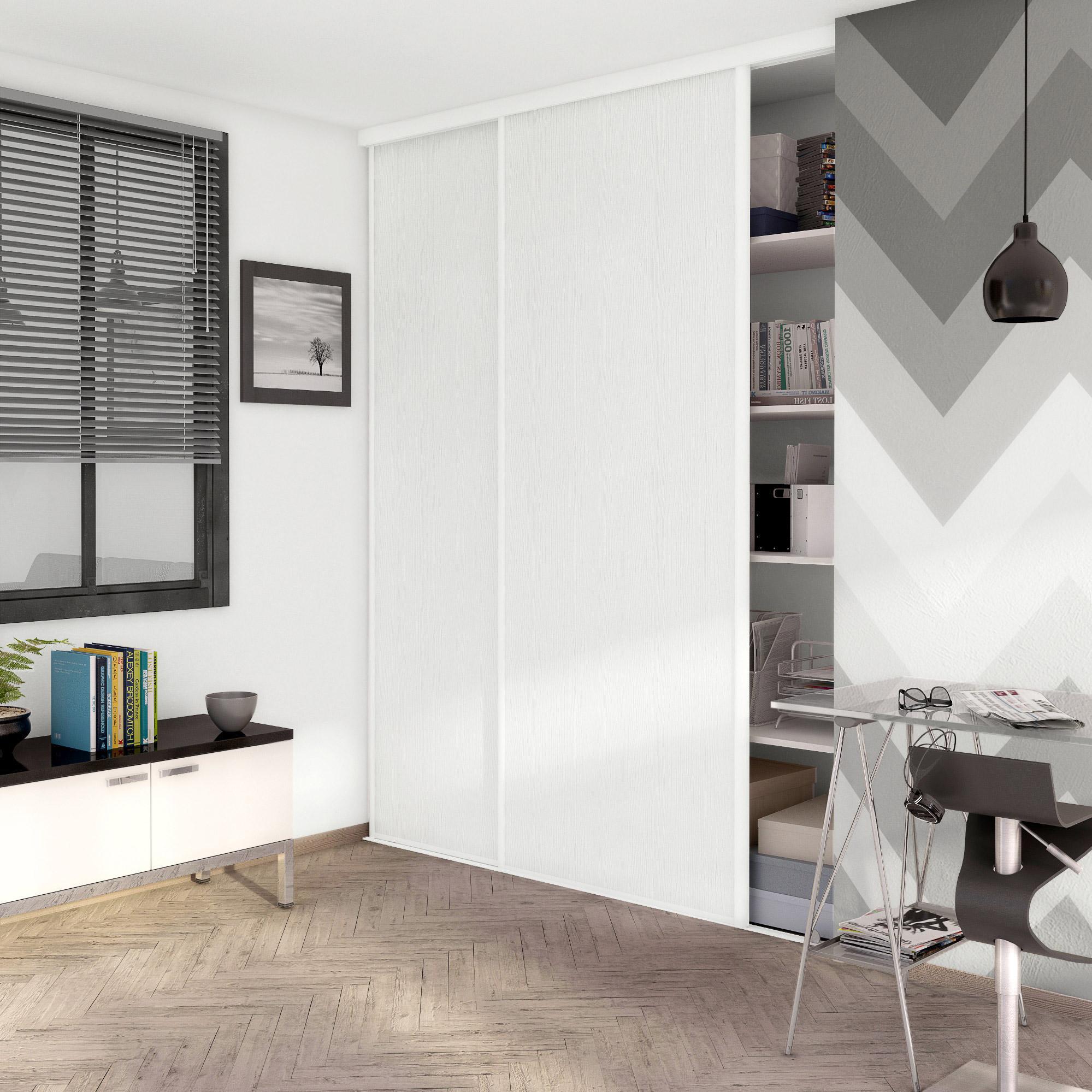 Porte De Placard Coulissante Effet Frêne Blanc Spaceo L 98 7 X H 250 Cm