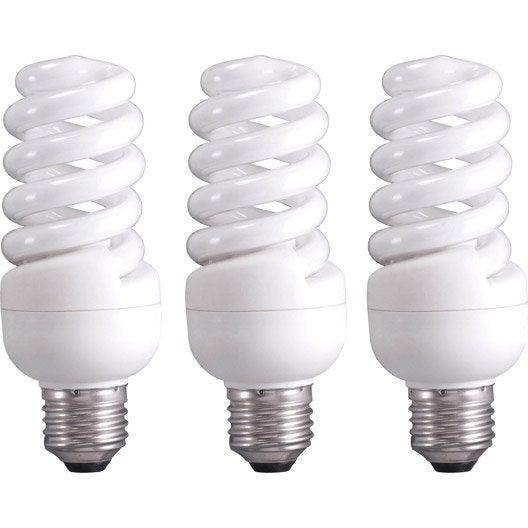 3 ampoules spirales fluorescentes 23w 1398lm quiv 100w - Ampoule lumiere noire leroy merlin ...