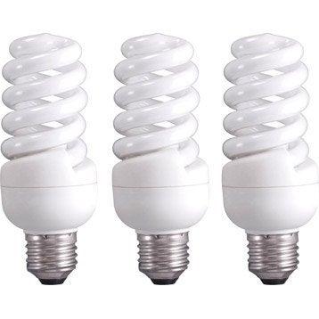 3 ampoules spirales fluorescentes 23W = 1398Lm (équiv 100W) E27 2700K LEXMAN