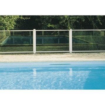 Barrière pour piscine aluminium Esterel blanc 9010, H.120 x l.150 cm