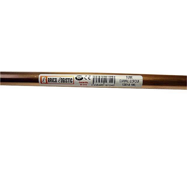 Tube Dalimentation Cuivre écroui Diam12 X 14 Mm En Barre De 4 M