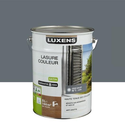 Lasure luxens gris galet n 1 aspect satin 5 l leroy merlin - Lasure volet exterieur ...