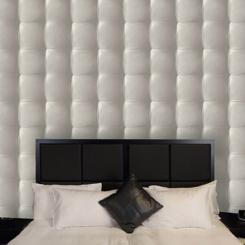 papier peint intiss capiton cuir gris leroy merlin. Black Bedroom Furniture Sets. Home Design Ideas