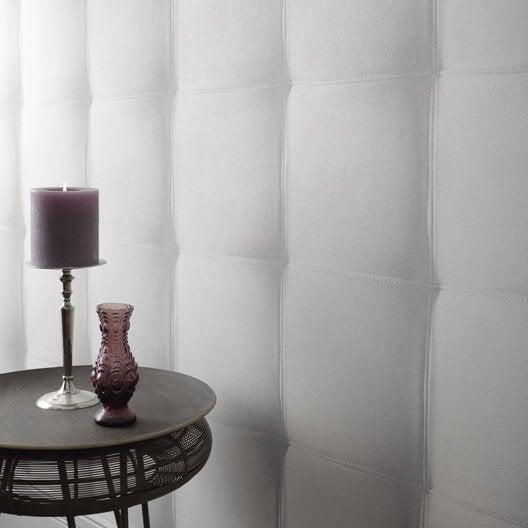 papier peint intissé capiton cuir blanc   leroy merlin