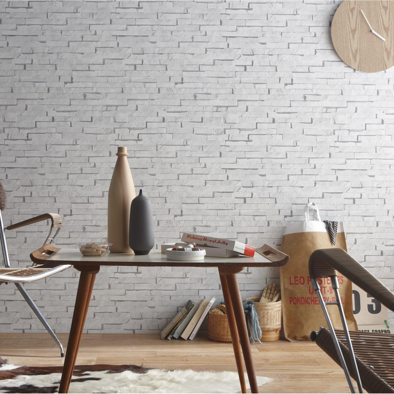 Papier peint intissé Craie briquettes blanc | Leroy Merlin