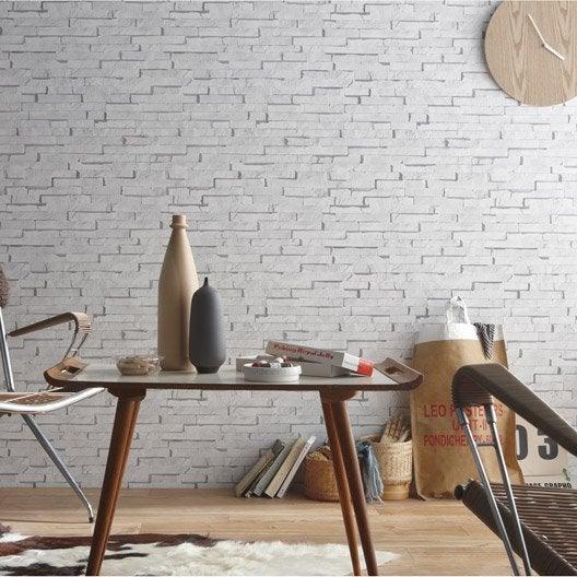 Papier peint intissé Craie briquettes blanc