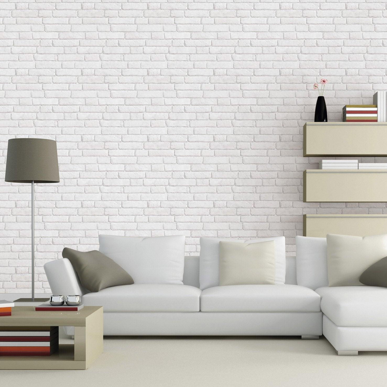 Parfait Papier Peint Intissé Briques Anciennes Blanc
