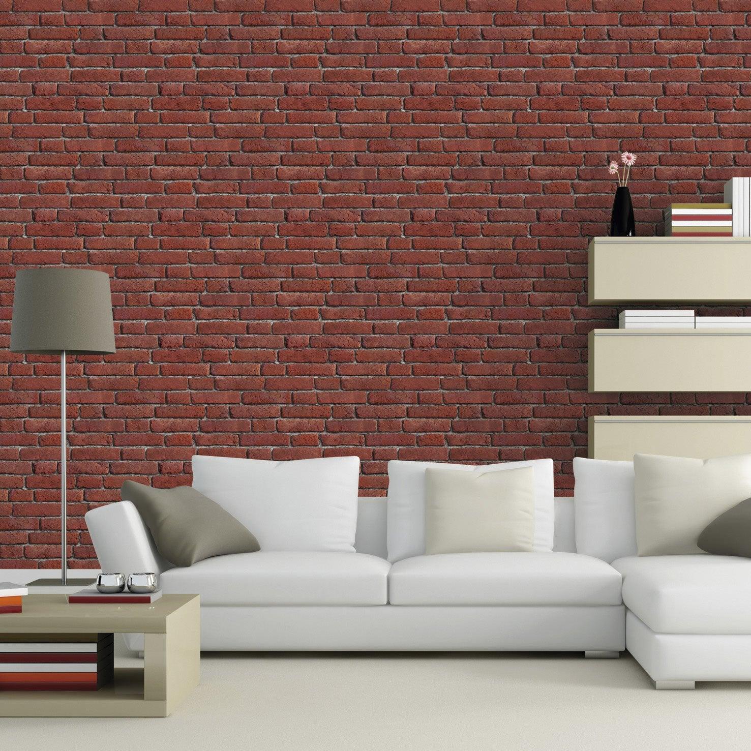 Papier peint intiss briques anciennes orange leroy merlin - Papier peint brique rouge ...