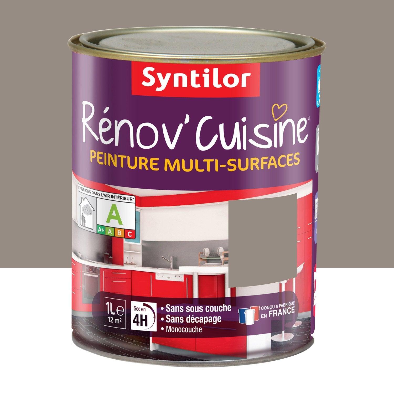 Peinture R Nov Cuisine Syntilor Brun Macaron 1 L Leroy Merlin ~ Peinture Pour Escalier En Bois Sans Poncer