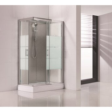 Cabine de douche rectangulaire 120x80 cm, Optima2 grise