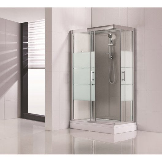 cabine de douche optima2 grise hydromassante mitigeur rectangulaire 120x80 cm leroy merlin. Black Bedroom Furniture Sets. Home Design Ideas