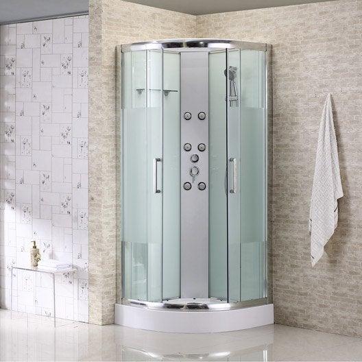 cabine de douche 1 4 de cercle 85x85 cm quad leroy merlin. Black Bedroom Furniture Sets. Home Design Ideas