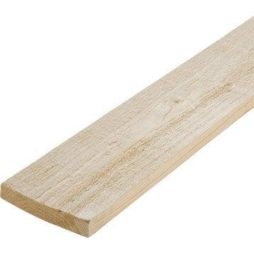 Planche sapin petits noeuds brut, 25 x 150 mm, L.2.4 m
