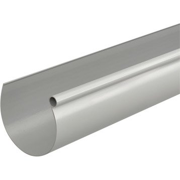 Gouttière demi-ronde pvc GIRPI dév.25 cm grise L.4 m
