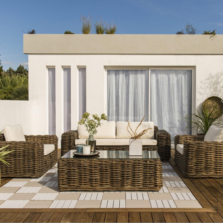 Salon bas de jardin Ayamonte bois naturelle, 5 personnes | Leroy ...