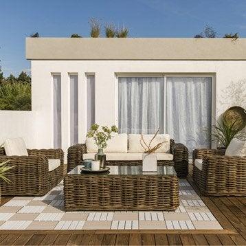 Salon bas de jardin canap fauteuil bas salon de - Salon bas de jardin en bois ...