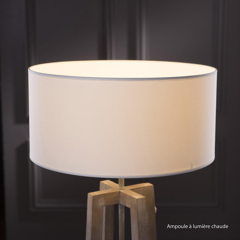 Abat-jour Tube, 40 cm, toiline, blanc-blanc n°0 INSPIRE   Leroy Merlin