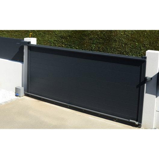 portail coulissant motoris aluminium lao gris naterial cm x cm leroy merlin. Black Bedroom Furniture Sets. Home Design Ideas