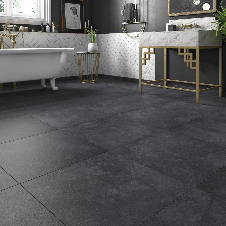 carrelage sol noir effet pierre sicile x cm leroy merlin. Black Bedroom Furniture Sets. Home Design Ideas