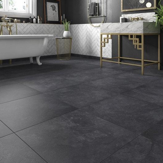 Carrelage sol noir effet pierre Sicile l.60 x L.60 cm | Leroy Merlin
