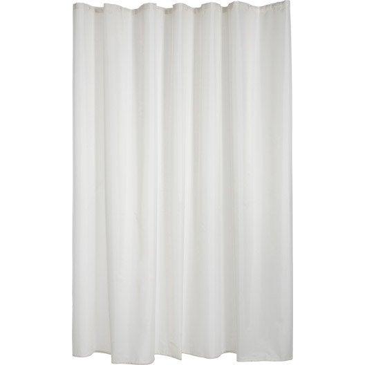 rideau de douche en textile blanc blanc n 0 x cm happy sensea leroy merlin. Black Bedroom Furniture Sets. Home Design Ideas