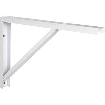 Equerre Robusto acier epoxy blanc, H.30 x P.50 cm