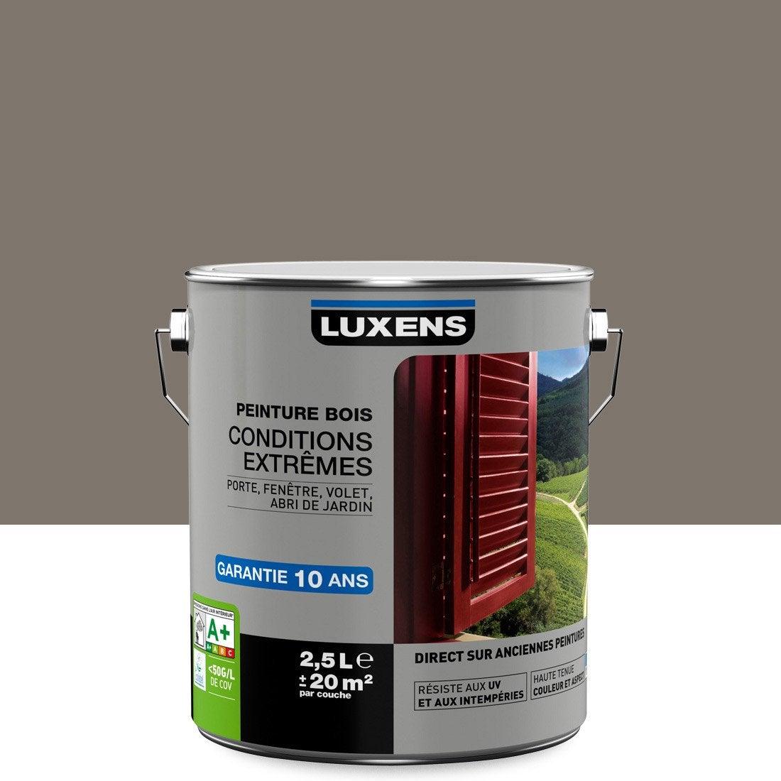 Peinture Bois Extérieur Conditions Extrêmes LUXENS, Brun Taupe N°3, 2.5 L
