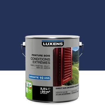 Peinture bois extérieur Conditions extrêmes LUXENS, bleu bleu n°1, 2.5 l