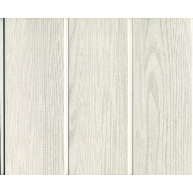 lambris pvc bois fin blanc grosfillex x cm x ep 8 mm leroy merlin. Black Bedroom Furniture Sets. Home Design Ideas