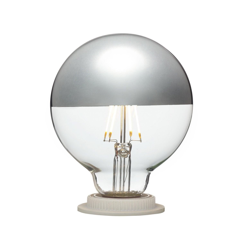 Ampoule LED globe calotte argentée E27 3W = 300Lm (équiv 28W) 2700K ...