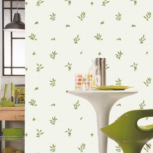 Papier peint papier olives blanc leroy merlin - Papier peint bebe leroy merlin ...