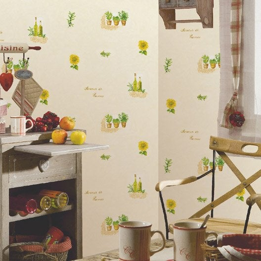 Papier peint papier saveurs provence blanc leroy merlin for Papier peint vinyle intisse cuisine