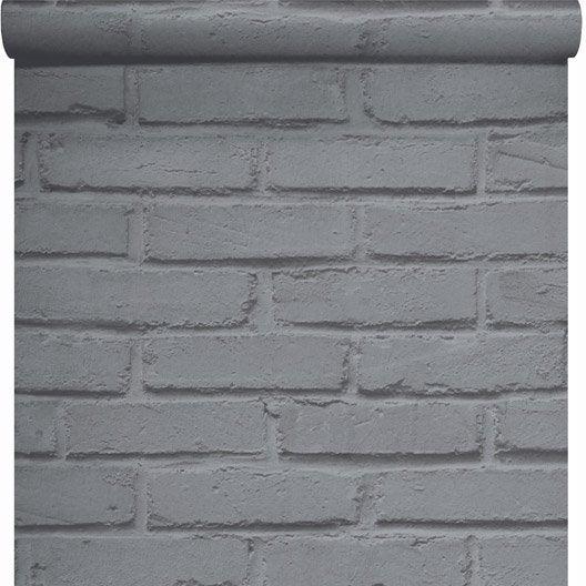papier peint papier brique loft argent leroy merlin. Black Bedroom Furniture Sets. Home Design Ideas