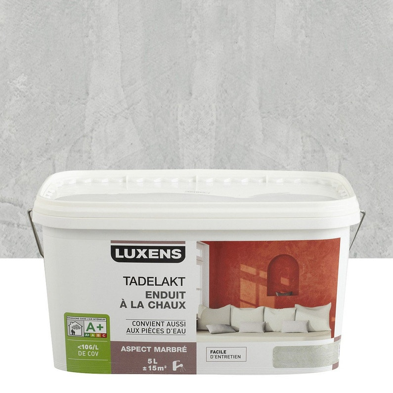 Peinture à effet, Tadelakt LUXENS, gris galet 6, 5 l | Leroy Merlin