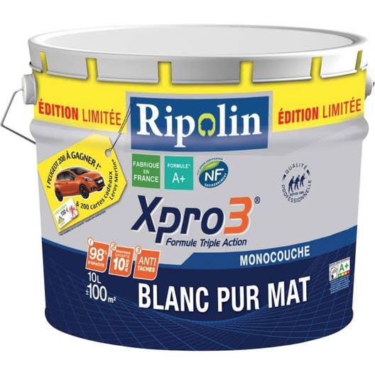 peinture blanche mur plafond et boiserie xpro3 ripolin mat 10 l leroy merlin. Black Bedroom Furniture Sets. Home Design Ideas